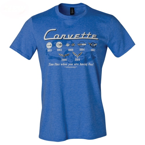 Chevrolet Corvette t-shirt - C1-C7 Generations 1953-2014 - Time Flies